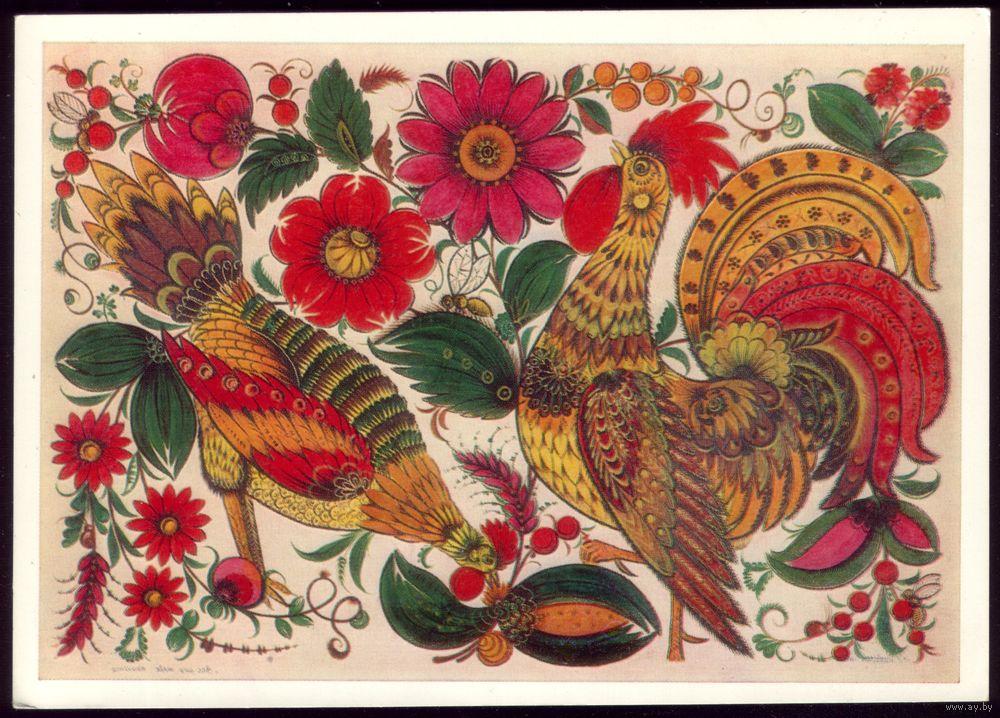 Какая птица была излюбленным сюжетом народных росписей